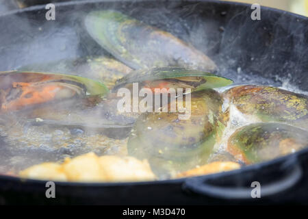 Several large mussels are fried in a frying pan - Stock Photo