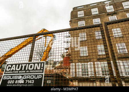 10th Feb, 2018. Demolition work at the Dukes Lodge, 80 Holland Park, London W11. The 1930s mansion block in Holland - Stock Photo