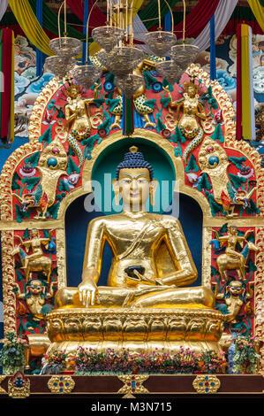 Coorg, India - October 29, 2013: Inside Padmasambhava Vihara of Namdroling Buddhist Monastery. Closeup of The golden - Stock Photo