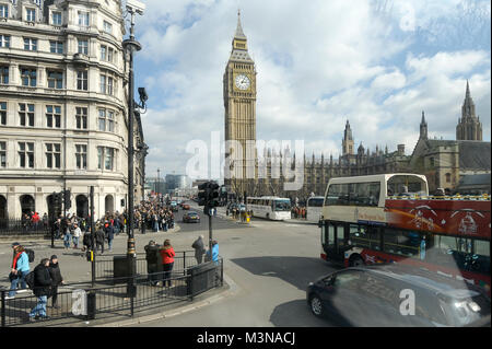 Palace of Westminster with Clock Tower called Big Ben listed by UNESCO World Heritage in London, England, United - Stock Photo