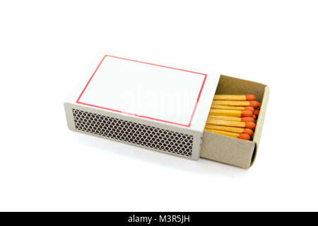 matchsticks in box isolated on white background - Stock Photo