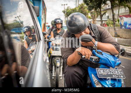 Bali, Indonesia, 28 August 2013: Traffic on streets of Bali - Stock Photo