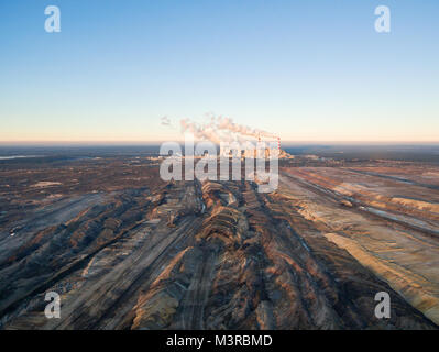 Aerial view of open-cast coal mine Belchatow, Poland - Stock Photo