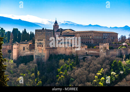 Granada, Spain: The Charles V (Carlos V) royal palace part of the Alhambra palace and fortress complex. - Stock Photo