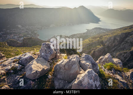 Aerial view from green mountains above Kotor city in Bay of Kotor of Adriatic Sea, Montenegro. View with Saint John - Stock Photo