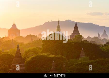 Bagan: Thatbyinnyu Temple, Ananda Temple, temples in Old Bagan, stupa Tan Kyi Paya atop mountain, , Mandalay Region, - Stock Photo