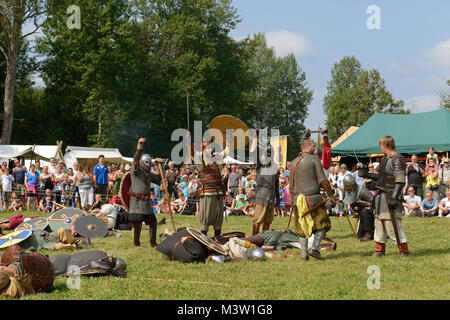 Viking market in Saltvik. It is considered one of major Viking markets in Scandinavia. Brutal battle and victory - Stock Photo