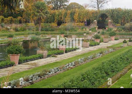The walled, terraced, sunken garden at Kensington Palace, London - Stock Photo