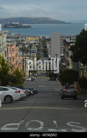 Streets of San Francisco with Spectacular Views of the Alcatraz Jail. Travel Holidays Arquietectura June 30, 2017. - Stock Photo