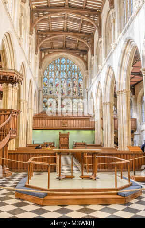 The main altar in the nave at the christian church of St Mary the Virgin, the official church at the university - Stock Photo
