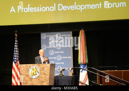 Master of ceremonies and President and CEO of AUSA, Gen. Gordon R. Sullivan, U.S. Army Retired, speaks at the Dwight - Stock Photo