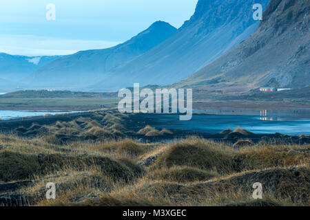Stokksnes and the Vestrahorn Southern Iceland beautiful Mountain and Landscape - Stock Photo