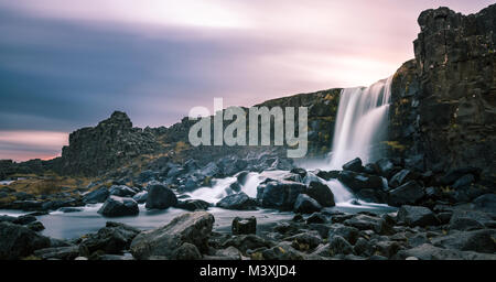 Beautiful Waterfall Oxarafoss in southern Iceland europe - Stock Photo