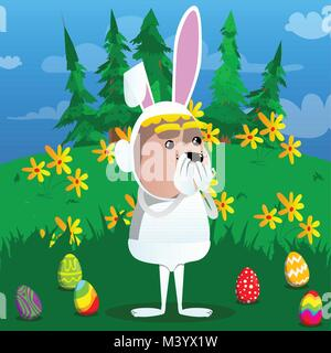 Boy dressed as Easter bunny with hands over mouth. Vector cartoon character illustration. - Stock Photo