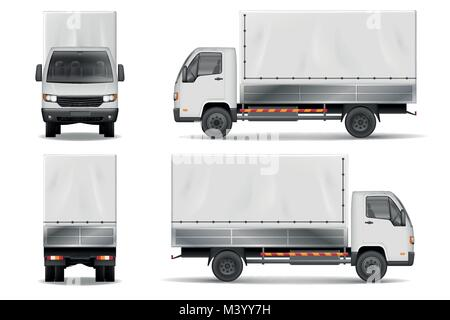 Semi truck isolated on white. Commercial realistic cargo lorry mockup. Delivery truck vector template from side, - Stock Photo