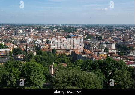 Italy - Lombardy, Bergamo, View of 'Lower Town' from the Venetian ramparts, - Stock Photo