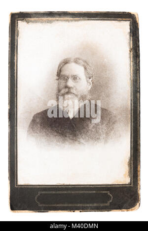 retro antique photo early twentieth century. vintage photograph,  portrait old man with beard and moustache with - Stock Photo