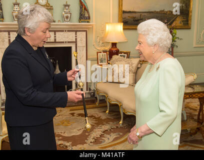 Queen Elizabeth II receives Sarah Clarke, who has been appointed the first female Black Rod in the 650-year history - Stock Photo