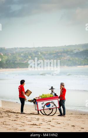 Jimbaran, Bali, 5 September 2013: vendor cart sell corn on the beach of Jimbaran, Bali, Indonesia - Stock Photo