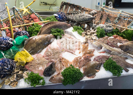 Fishmonger's slab, North Shields, north east England, UK - Stock Photo