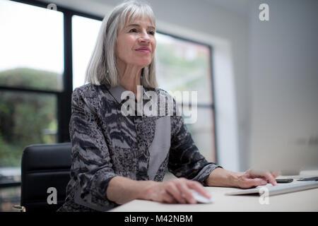 Senior businesswoman using computer - Stock Photo