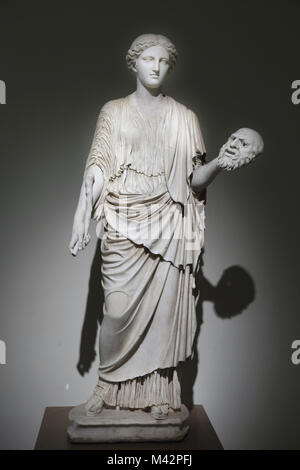 Female deity (Kore of the Eleusus type) restored as a Muse. Roman marble copy from the late 2nd century AD after - Stock Photo