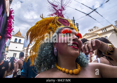 Sao Paulo, Brazil. 13th Feb, 2018. Revelers pose during street Carnival celebrations. Street carnival in Sao Paulo, - Stock Photo