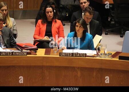 UN, New York, USA. 14th Feb, 2018. Nikki Haley, US Ambassador, speaks about Syria to UN Security Council.  Photo: - Stock Photo