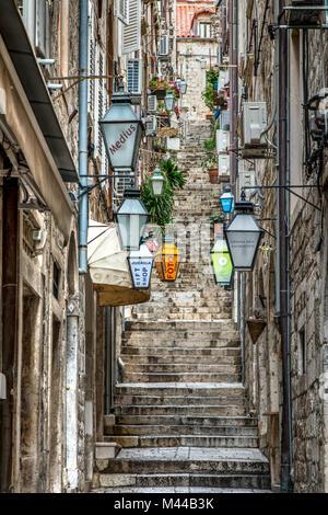 Picturesque corner of the historical centre, Dubrovnik, Croatia - Stock Photo