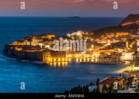 City skyline at dusk, Dubrovnik, Croatia - Stock Photo