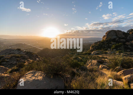 Dawn view of the San Fernando Valley in Los Angeles California.  Shot from Rocky Peak Park in the Santa Susana Mountains. - Stock Photo