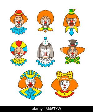 Clown faces different thin line avatars. Colorful vector flat linear icons. Cartoon illustration. Circus men and - Stock Photo
