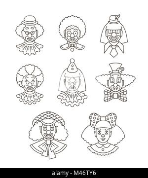 Clown faces different thin line avatars. Vector flat linear icons. Cartoon illustration. Circus men and girl smiling - Stock Photo