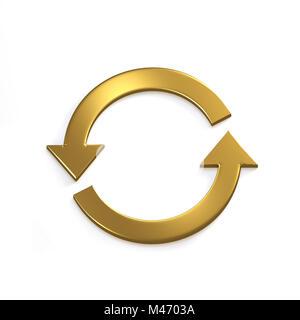 Gold Recycling Circular Arrows. Gold. 3D Render Illustration - Stock Photo