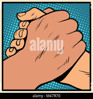 White black solidarity handshake stop racism - Stock Photo