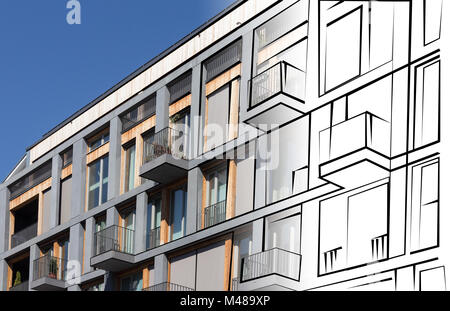 real estate concept - modern building facade drawing - Stock Photo