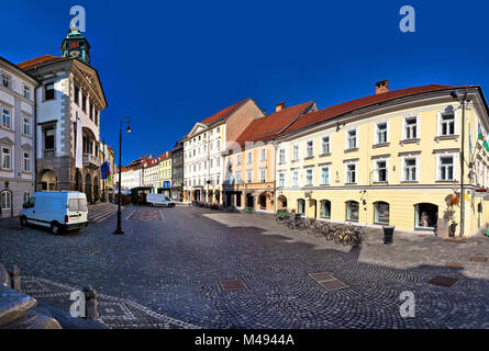 Ljubljana city hall and square view - Stock Photo