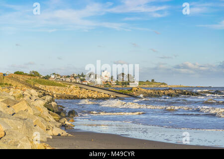 Elegant neighborhood at front of beach in Montevideo - Stock Photo