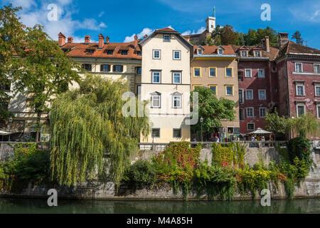 Ljubljana city view with Ljublianica river, Slovenia - Stock Photo