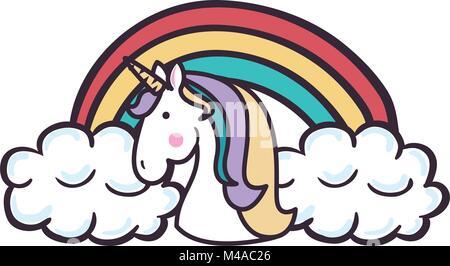 cute unicorn with rainbow fantasy sticker - Stock Photo