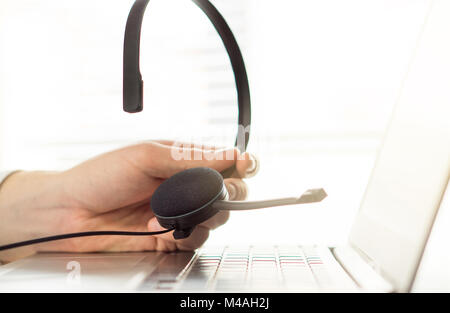 Help desk, support hotline or call center concept. Video call conference or telemarketing.  Customer service person - Stock Photo