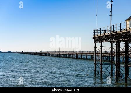 Southend on sea pier, longest pier in the world. Essex UK. - Stock Photo