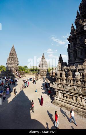 Tourists at the Prambanan Hindu Temple Compound. Special Region of Yogyakarta, Java, Indonesia. - Stock Photo
