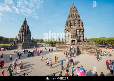Tourists at Prambanan Hindu Temple Compound. Special Region of Yogyakarta, Java, Indonesia. - Stock Photo