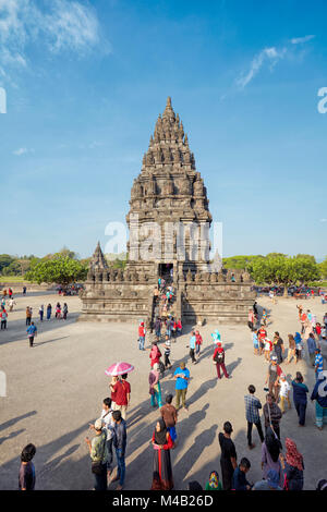 Visitors at the Prambanan Hindu Temple Compound. Special Region of Yogyakarta, Java, Indonesia. - Stock Photo