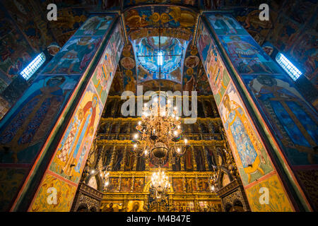Colourful wall paintings in the Church of Elijah the prohet in the Unesco world heritage sight Yaroslavl,Golden - Stock Photo
