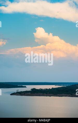 Kazinga channel  linking lake george and lake Edward at sunset,Queen Elizabeth National Park,Uganda - Stock Photo