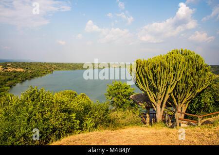 Kazinga channel linking lake george and lake Edward,Queen Elizabeth National Park,Uganda - Stock Photo