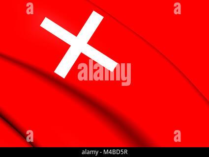 Flag of Schwyz, Switzerland. - Stock Photo