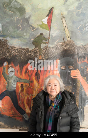 London, UK. 15th Feb, 2018. Japanese artist Setsuko Ono (younger sister of Yoko Ono) brings her work to London for - Stock Photo